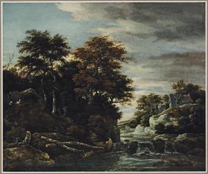 Bebost rivierlandschap met een waterval, een herder met schapen en in de verte enkele huizen