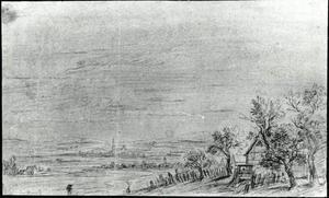 Landschap met boerderij rechts op de voorgrond