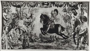 Jonge ruiter die een capriole uitvoert in de aanwezigheid van Mercurius, Mars en een dame