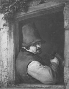 Drinkende man in een venster