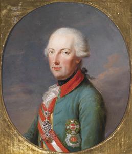 Portret van Keizer Jozef II in officiersuniform van de Chevaux Legers met de Orde van het Gulden Vlies in briljanten, de Maria Theresia Orde  en de Stefansorde.