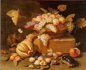 Stilleven met fruit, vlinder en schildpad