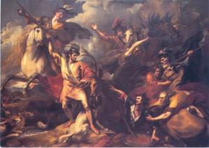 Alexander III van Schotland gered van de aanval door een edelhert door Colin Fitzgerald