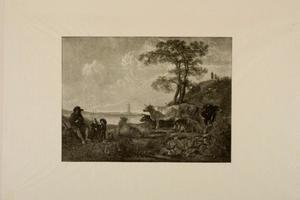 Fluitspelende herder met kudde, Rhenen in de achtergrond