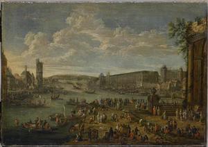 Gezicht op het Louvre en de Tour de Nesle vanaf het Île de la Cité
