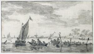 Rivierlandschap met vissers in bootjes