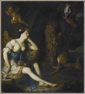 De na de jacht rustende Diana wordt door Cupido beschoten