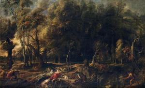 Landschap met de jacht van Meleager en Atalanta op het Caledonische everzwijn (Ovidius, Metamorfosen, VIII, 229-237)