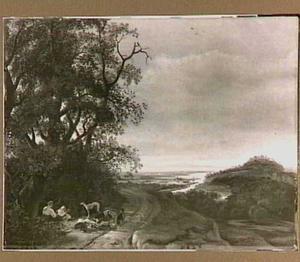 Weids landschap met rustende Diana