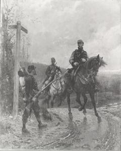 Schildwacht en twee cavaleristen op een landweg in een heuvellandschap