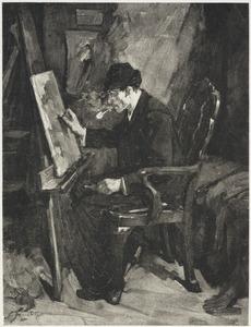Schilder aan het werk zittend voor zijn schildersezel