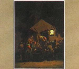 Marktscène bij nacht