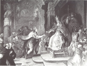 De Deense koning Christiaan I ontvangt in 1474 van paus Sixtus IV de Gouden Roos