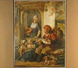 Visverkoper bij vrouw en kinderen voor een huis
