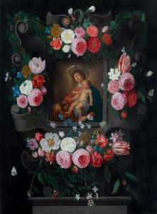 Madonna met Kind en Johannes de Doper in een bloemenkrans