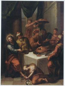 Maria Magdalena zalft de voeten van Jezus tijdens het gastmaal bij Simon de Leproos te Bethanië Matteus 26:6-13; Marcus 14:3-9; Johannes 12:1-11)