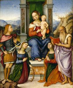 Tronende Maria en kind met de HH. Michael, Catharina van Alexandrië, Cecilia en Hiëronymus