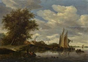 Rivierlandschap met boten bij een brug