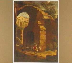Romeinse ruïne (Colosseum?) met vrouw te paard, luitspeler en ezel