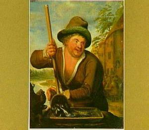 Een visser leegt een schepnet met vissen