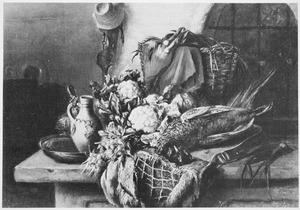 Jachtstilleven met een dode fazant, bloemkolen en andere groenten op een tafel