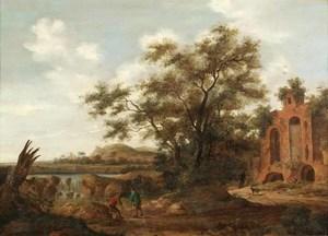 Landschap met reizigers bij een waterval, rechts een ruïne
