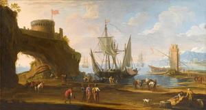 Mediterrane kust met figuren en schepen