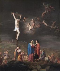 De kruisiging met de val van de engelen