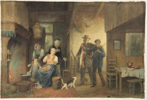 Boeren binnenhuis met twee thuiskomende jagers