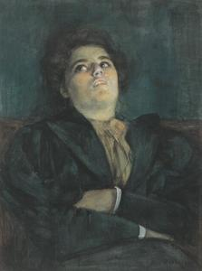 Seated woman with arms crossed