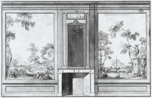 Ontwerp van een behangsel met twee landschappen ter weerszijden van een schoorsteen