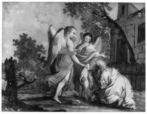 Abraham begroet de drie engelen knielend (Genesis 18:2)