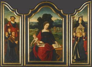Maria met kind in een landschap, geflankeerd door mannelijke en vrouwelijke donors en hun kinderen met de heiligen Sebastiaan en Gertrudis van Nijvel