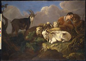 Herders met vee in een landschap met dreigende wolkenlucht