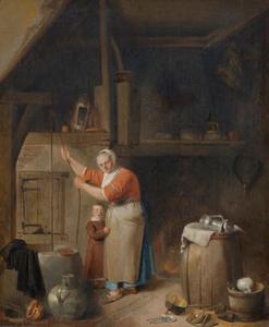 Keukeninterieur met een vrouw en een kind