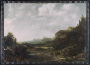 Uitgestrekt berglandschap met twee rustende figuren en verschillende dieren