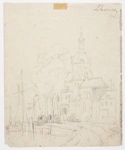 Gezicht op Dordrecht met de Groothoofdspoort op de achtergrond