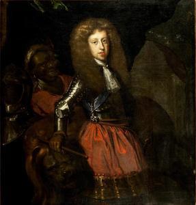 Portret van prins Jørgen van Denemarken (1653-1708), met een bediende