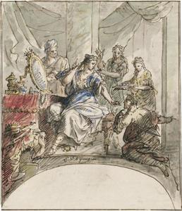 aKoningin Semiramis ontvangt bericht van de opstand in Babylon