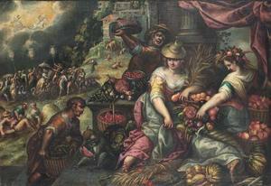 Allegorie op de zomer, met Ceres en Flora omringd door groenten en vruchten
