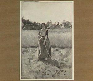 Boerin op het aardappelland