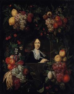 Vruchtencartouche rondom een portret van een man met een schrijfveer