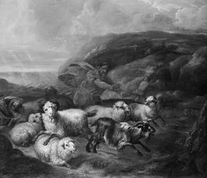 Een herder met zijn kudde op de vlucht voor het onweer
