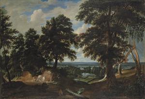 Landschap met de bekering van de heilige Hubertus