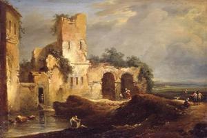 Landschap met ruïne bij een water