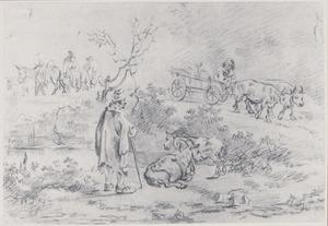 Reizigers en boeren op een weg