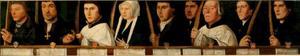 Portretten van negen leden van de Utrechtse Jeruzalembroederschap