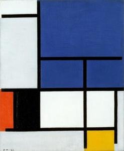 Composition with large blue plane, red, black, yellow and gray