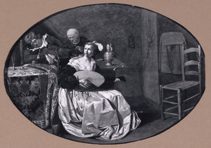 Luitspelende jonge vrouw in een interieur met een slapende man die beroofd wordt door een oude vrouw