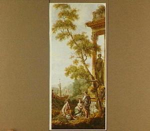 Arcadisch landschap met figuren bij een klassieke ruïne